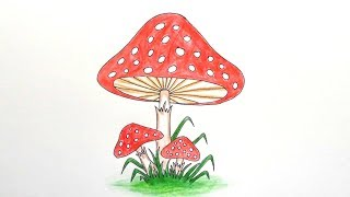 mushroom draw easy step very