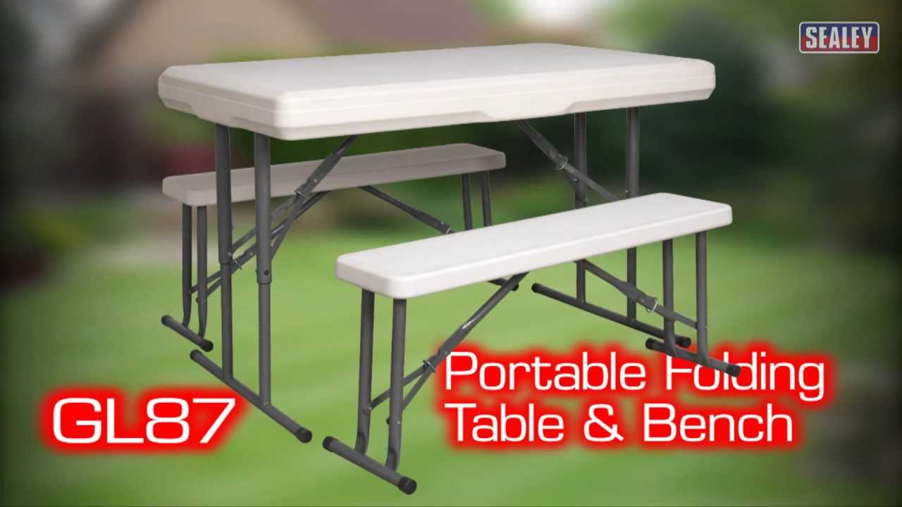 Sealey GL87 Portable Folding Table U0026 Bench Set
