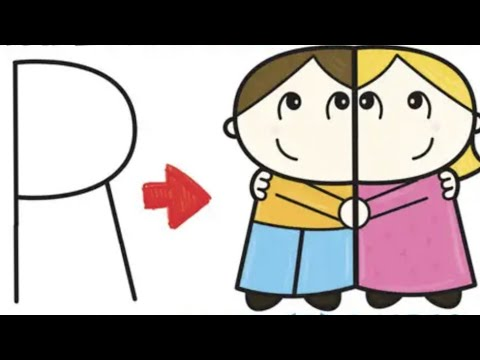 """How To Draw Cartoon Couple (Girl And Boy) Hugging From Letter """"R"""" Shapes Simple Drawing For Kids"""