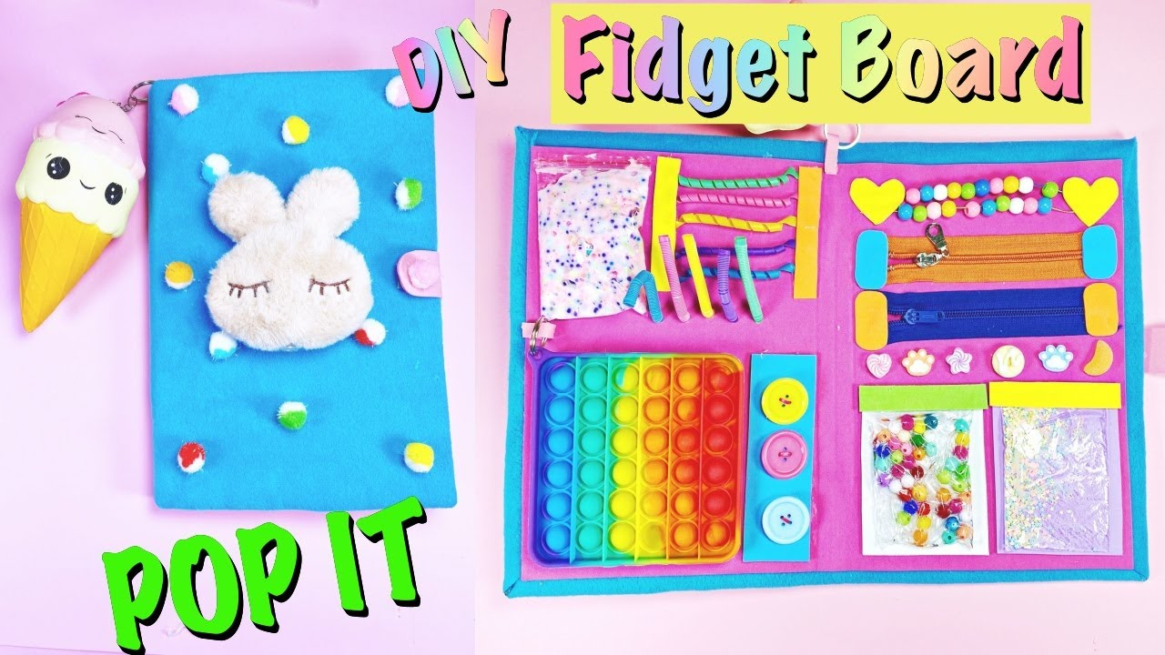 DIY FIDGET BOARD - CUTE and Colorful Fidget Toys Ideas by GIRL CRAFTS - Squishy, POP IT and more...