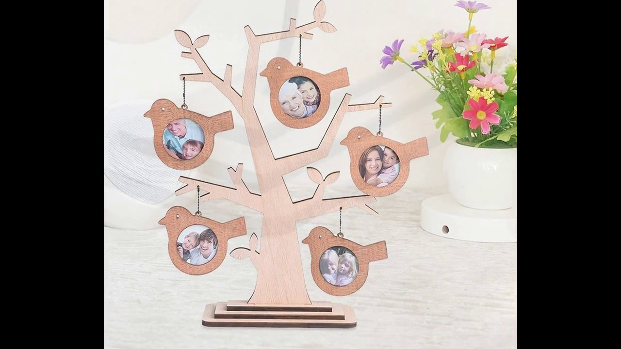 Giftgarden Family Tree Shaped Picture Frame 2x2 With 5 Hanging Photo