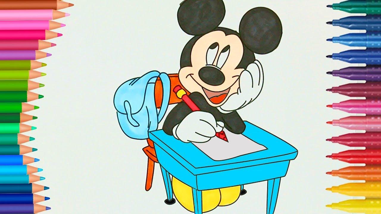 Mickey Mouse está Estudiando en la Escuela colorear libros con Chu ...