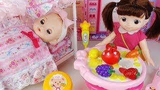 Baby Doll Princess Bedroom house and food toys baby sitter play 아기인형 침대 하우스 음식 세탁기 장난감놀이 - 토이몽