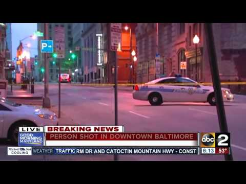 Person shot in downtown Baltimore Monday morning