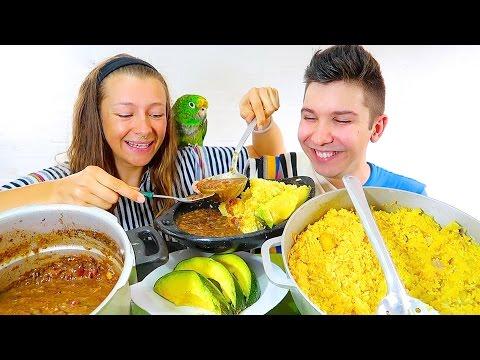 Best Spanish Beans, Rice, & Creamy Avocado • MUKBANG
