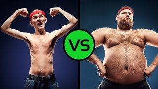 Who was stronger? Fatty and thin in a ring. Amusingly