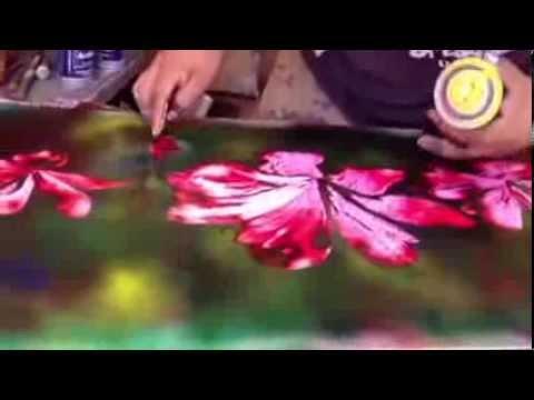 flowers spray paint art youtube. Black Bedroom Furniture Sets. Home Design Ideas