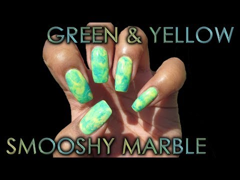 Green & Yellow Smooshy Marble | DIY Nail Art Tutorial