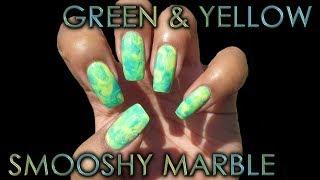 Green & Yellow Smooshy Marble | DIY Nail Art Tutorial