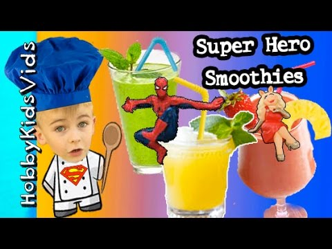 Super Heroes Power SMOOTHIES and Fizzy Drinks! Fun Family Recipe HobbyKidsVids