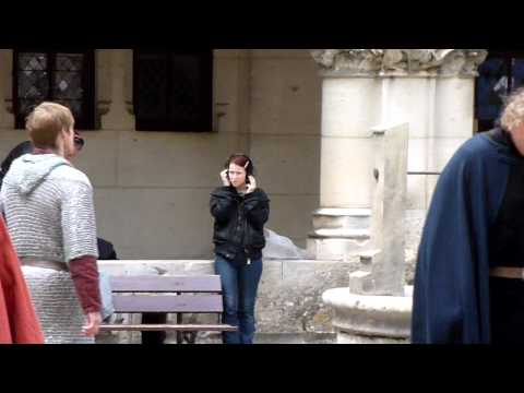 Bradley James and Angel Coulby rehearsing a scene 23/6/11