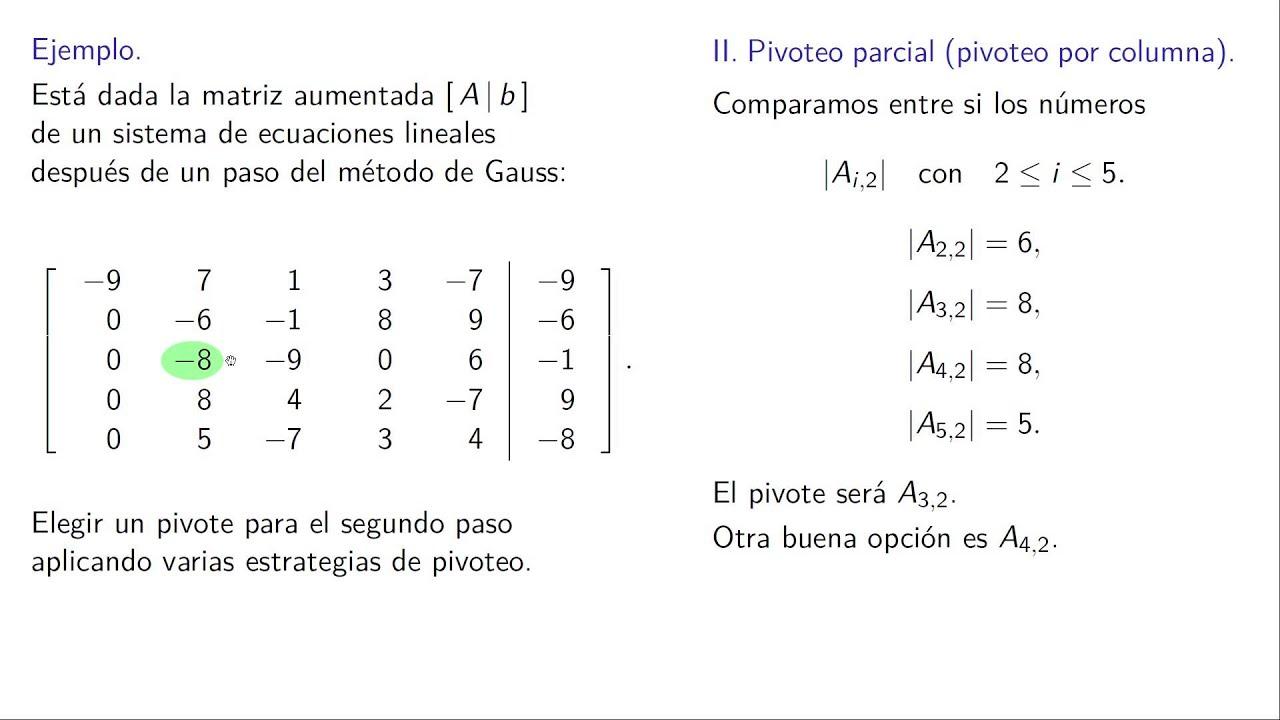 Que es un pivote en una matriz