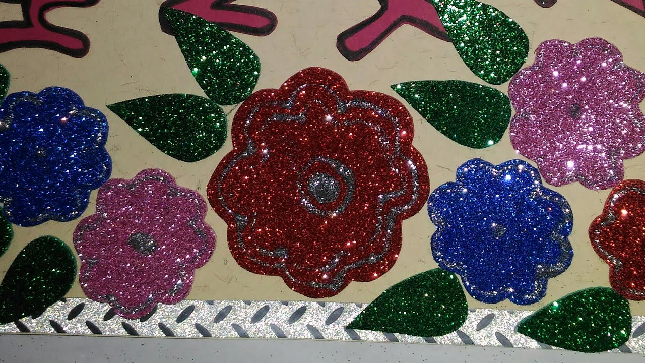 glitter foam sheet flower card new year card making