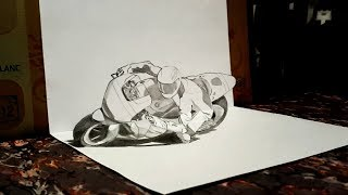Drawing illusion 3D Anamorphique - Moto