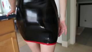 Latex dress walking