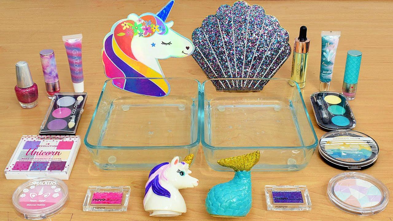 Download Unicorn vs Mermaid - Mixing Makeup Eyeshadow Into Slime ASMR 433 Satisfying Slime Video