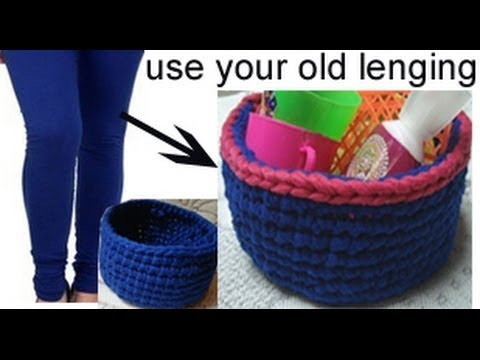 Basket in 10 min with lenging yarn,T-shirt yarn Chorchet basket , chorchet pattern