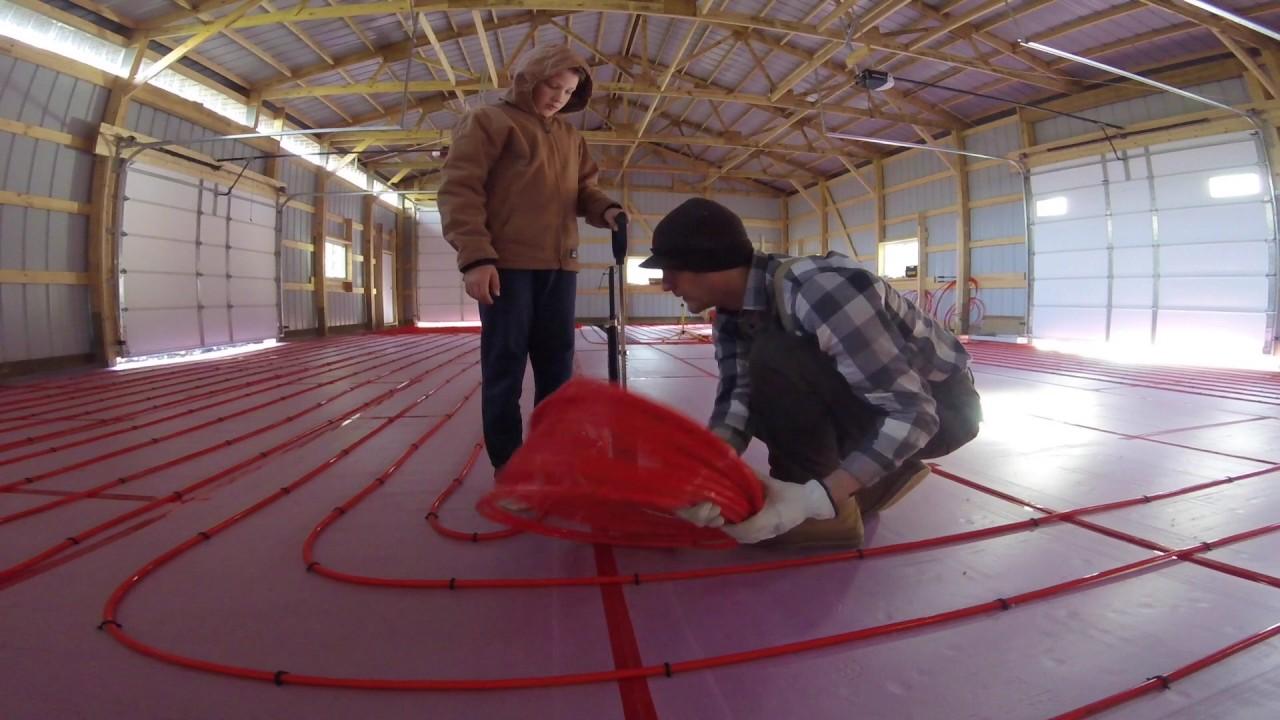Pole Shed Installing Raditant Floor Heat Pex Tubing
