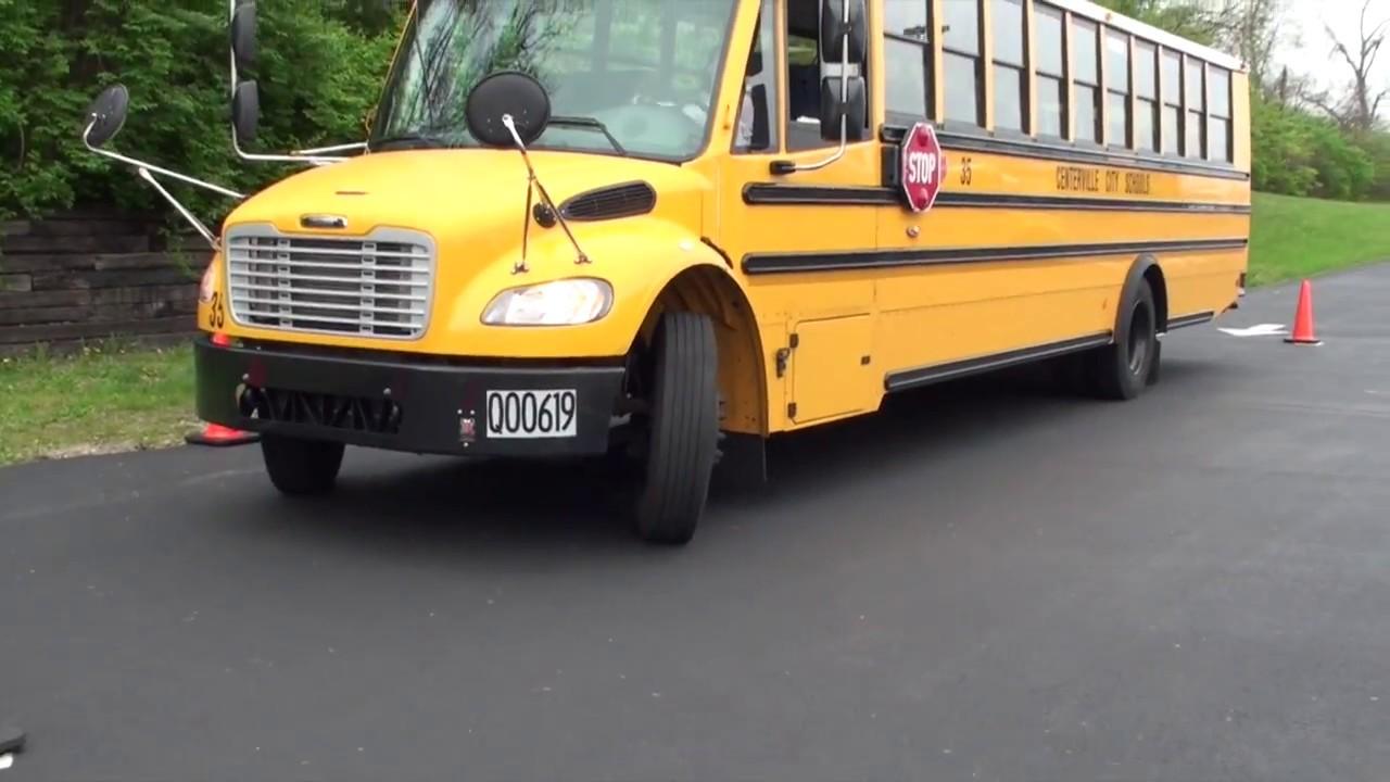 Cdl Class B Skills  School Bus Parallel Parking - Blind Side W   Mirror View