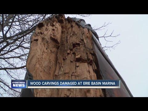 Possible vandalism of waterfron wood carvings
