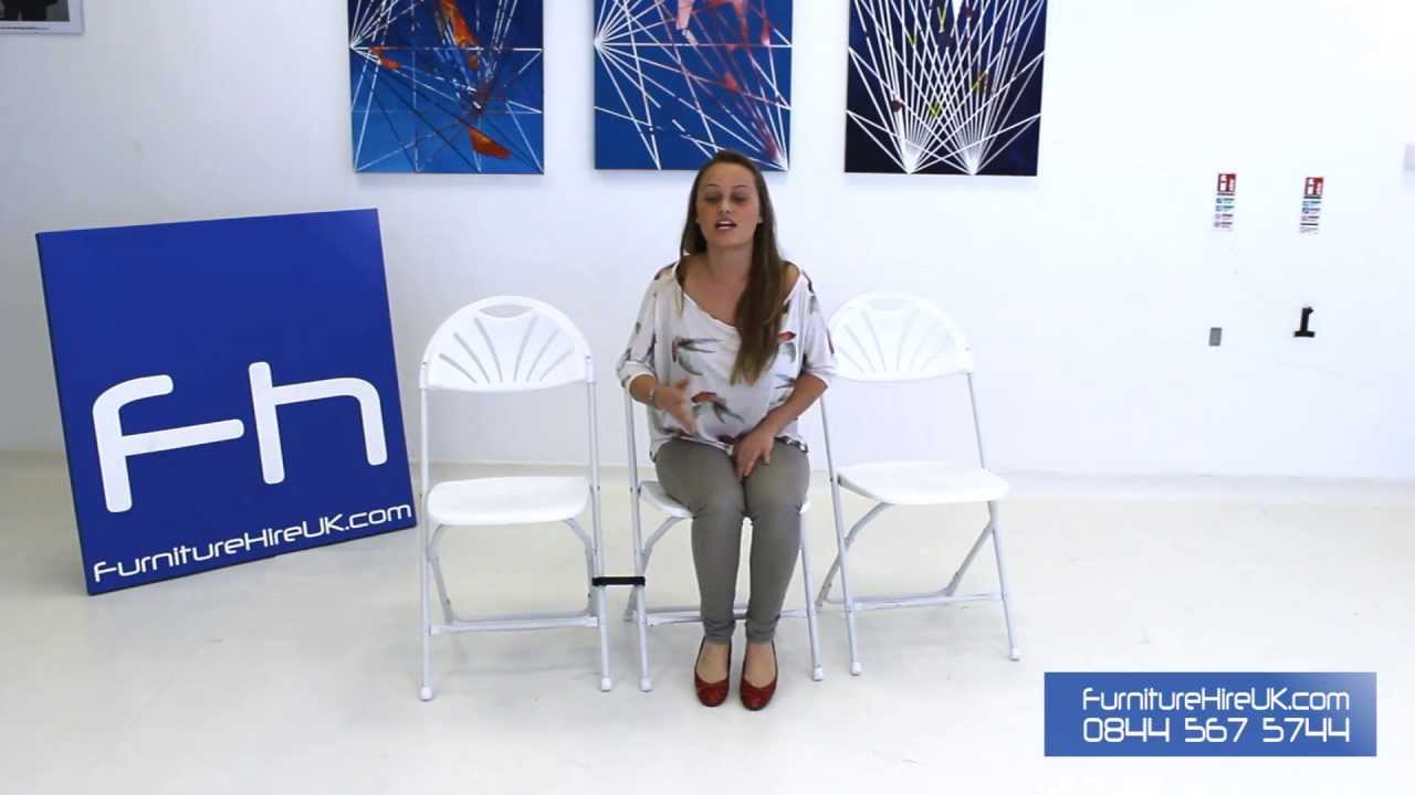 White Folding Fan Back Chair Demo - Furniture Hire UK