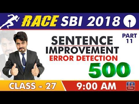 SBI Clerk Prelims 2018 | 500 Error Detection | Part -11 | 9 am | Class-27