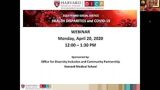 Equity and Social Justice Webinar - Health Disparities and COVID-19
