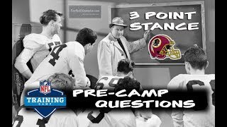 Football Gameplan's 3 Point Stance - Redskins Pre-Camp Questions