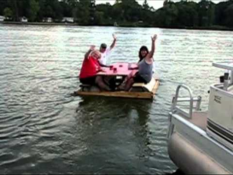 Picnic table pontoon youtube for Picnic boat plans