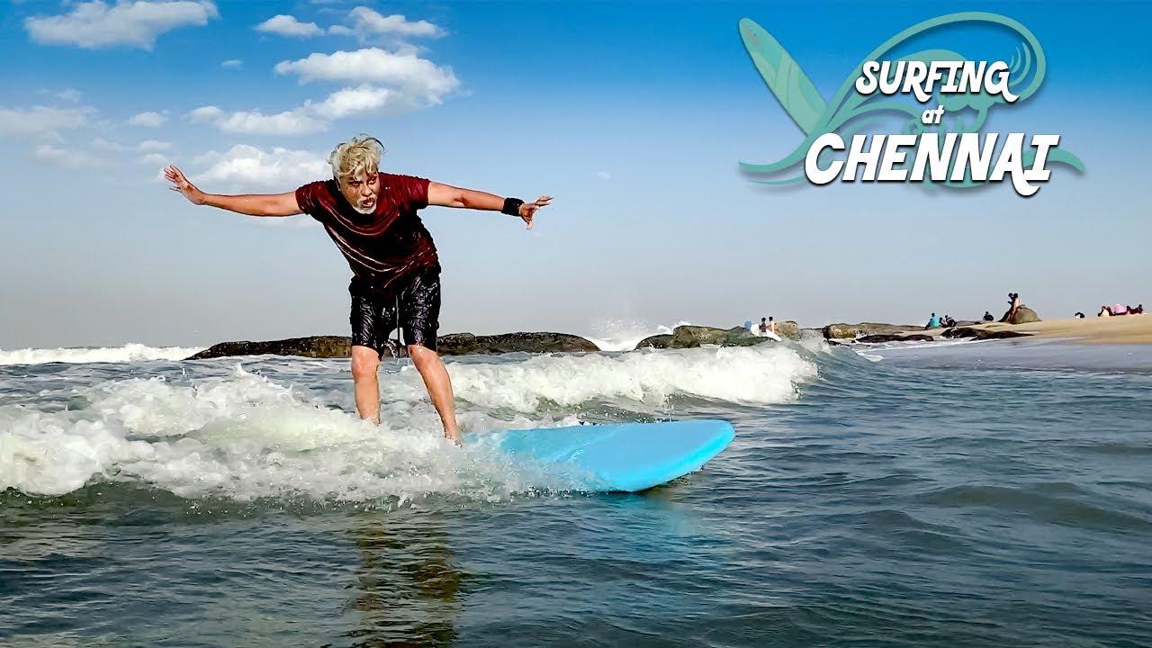 Dad tries Surfing! 🏄   Surf Turf, Kovalam   Lost GoPro Again 😓