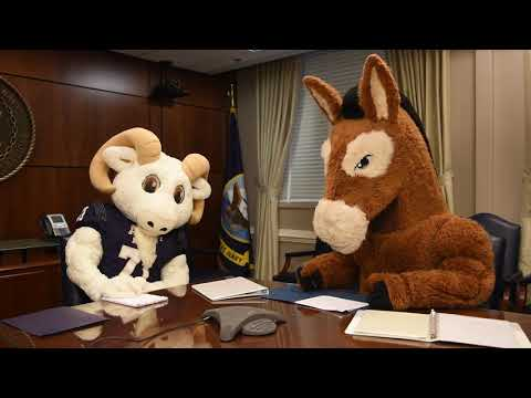 HQ Pre-Game Conference with Team Mascots