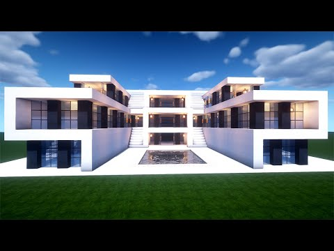 Easy Minecraft Large Modern House Tutorial How To Build A House