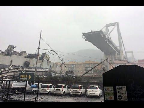 In Italy, collapsed car bridge
