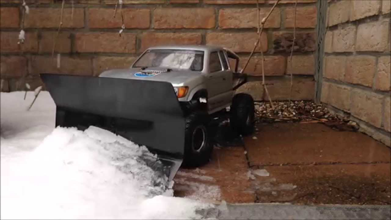bos rc racing axial scx10 trail honcho with selfmade snow plow shield youtube [ 1280 x 720 Pixel ]