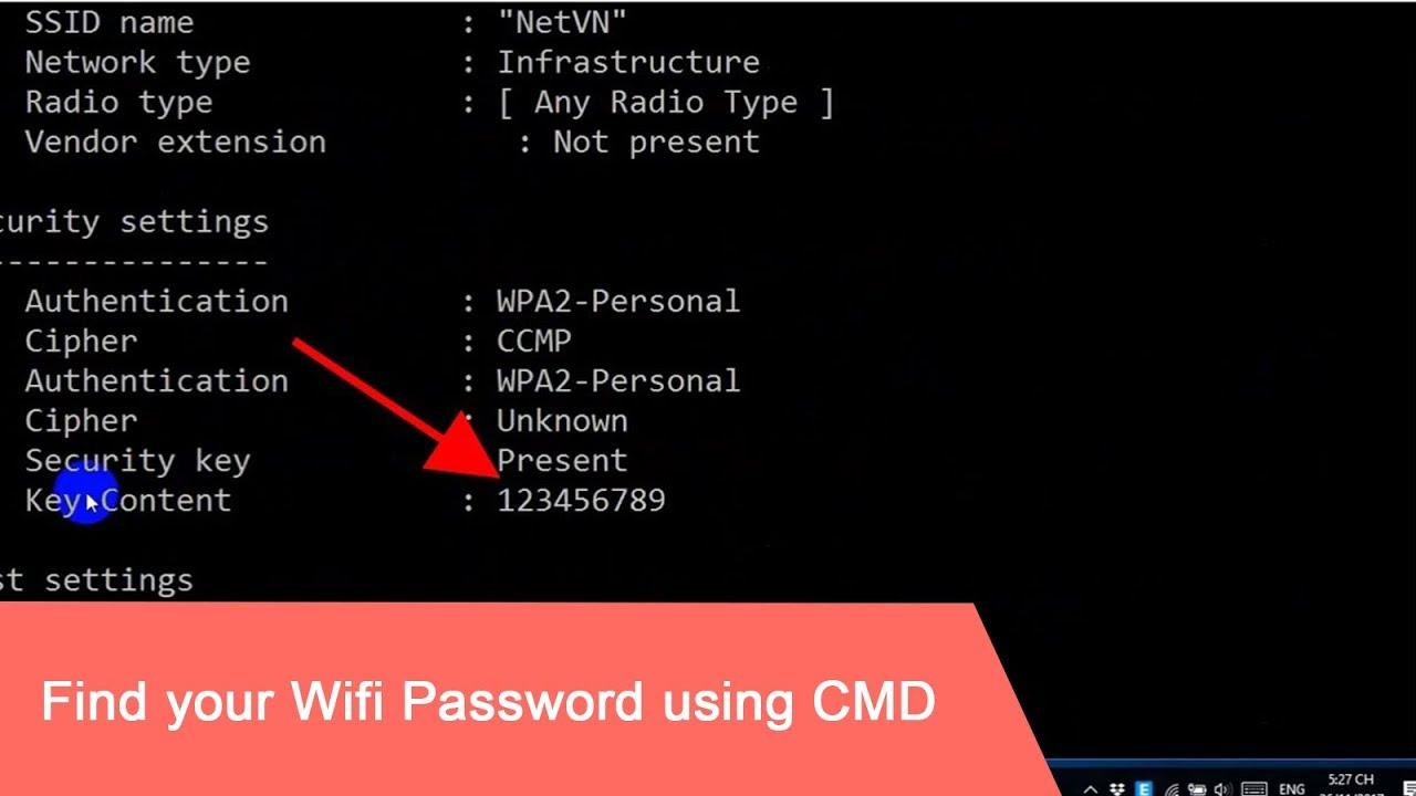 CMD : Show Wi-Fi Password | Windows 10/8/7/XP