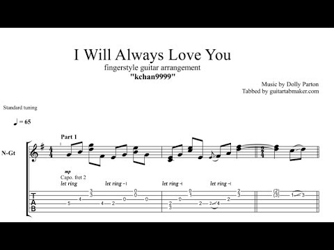 I Will Always Love You TAB - fingerstyle guitar tab - PDF ...  Fingerstyle