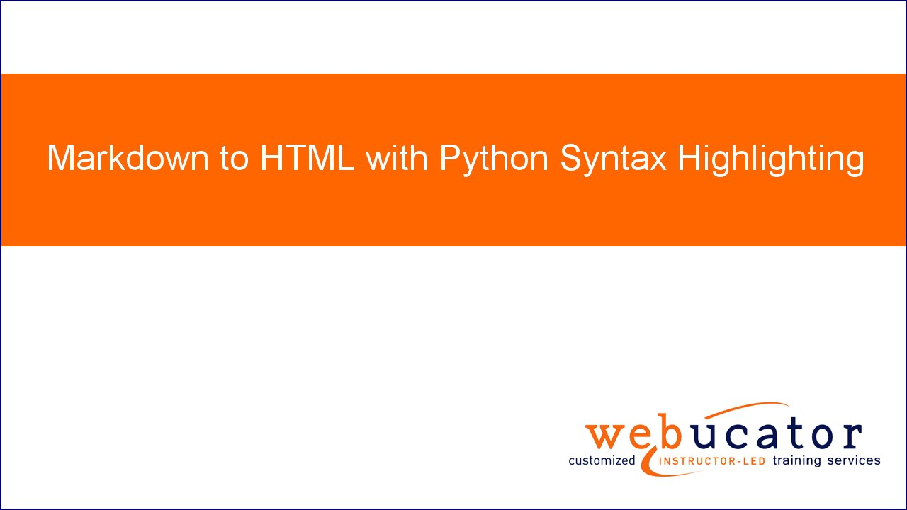 Markdown to HTML with Python Syntax Highlighting