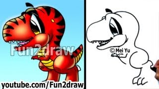 Fun Things to Draw - How to Draw a Dinosaur T-Rex - Drawing Lessons - Fun2draw
