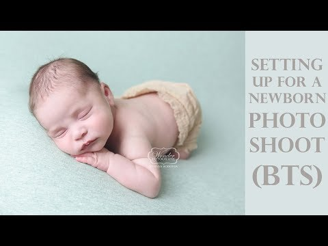 How to set up for a Newborn photo shoot - Photographing a baby boy and girl (BTS)