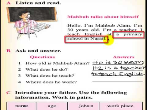 class 3 english unit 1 lesson 2 a teacher youtube
