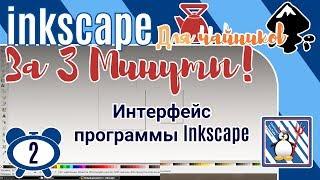 2.Inkscape За 3 минуты:Интерфейс программы Inkscape/Где, что находится в векторном редакторе?