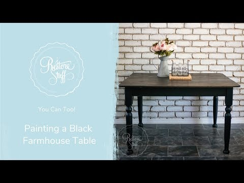 Staining An Antique Farmhouse Table In Black Ebony Stain & Finishing Oil