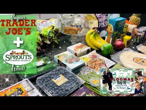 ❄️VLOGMAS Day 10 ❄️HUGE Trader Joes & Sprouts Haul!   Vegan & Prices Shown!