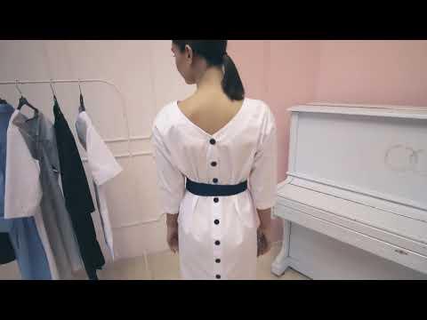 DOCLIKE медицинская одежда платье медицинское белое с поясом DL382