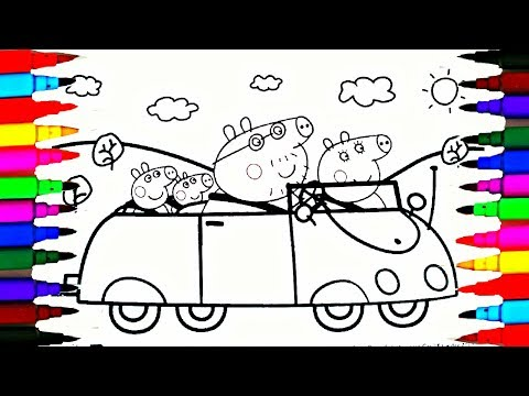 How To Draw and Color Peppa Pig Car Coloring Pages Videos for Children Learn Colors Teach Drawing