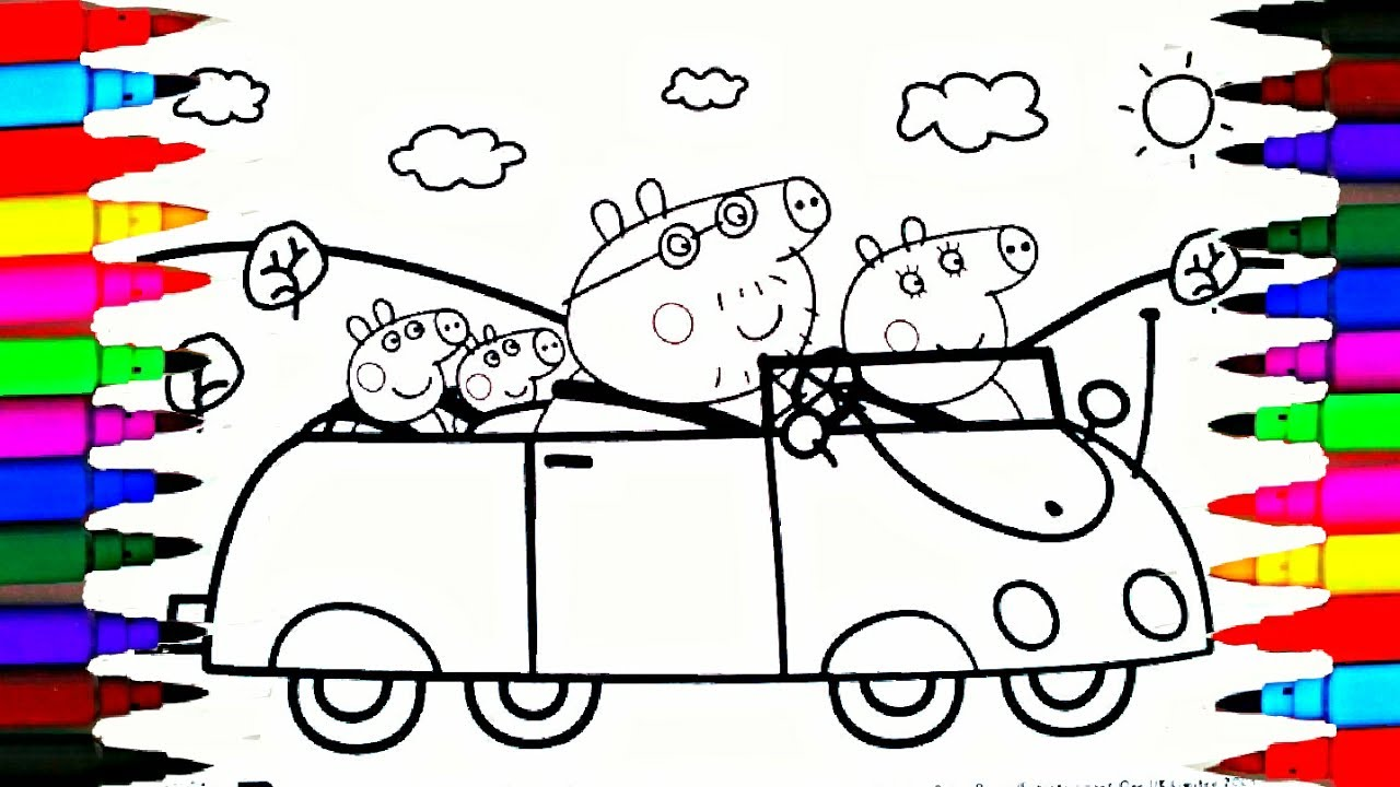 how to draw and color peppa pig car coloring pages videos for