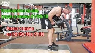 Тренировка мышц груди и спины 01.09.18. Упражнения. Безуглеводка. Анонс стрима на 04.09.18 в 21:00