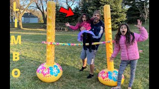 Inflatable Limbo Challenge!! family fun game activities for kids