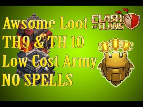 How to get awsome loot without spell - Low COST ARmY - TH9 | TH 10 | Clash of Clans