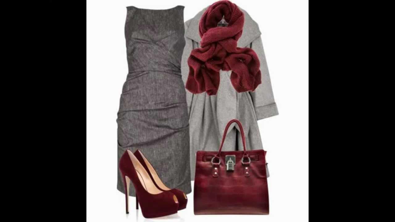 como combinar zapatos rojos con un vestido gris | Como